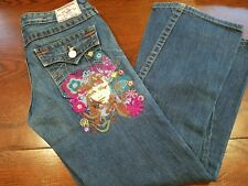 TRUE RELIGION JOEY FLOWER GIRL EMBROIDERY PINK BLUE WASH FLARE LEG S-29
