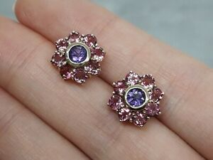 Solid 9ct Yellow Gold Flower Cluster Stud Earrings Amethyst Pink Tourmaline 3.6g