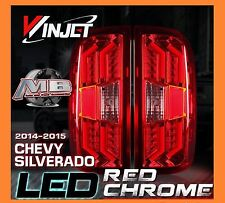 2014-2016 Chevy Silverado LED Tail Lights Chrome/Red Winjet WJ20-0383-08