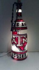 Texas A&M Aggies Inspired Hand Painted Lighted Wine Bottle Stained Glass look