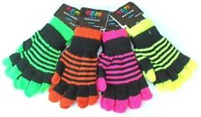 2In1 Stripe Magic Winter Gloves Full Finger Fingerless Childrens Kids Boys Girls