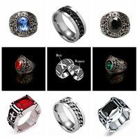 Men Women Couple Black Crystal Red Ruby Stainless Steel Ring Silver Band