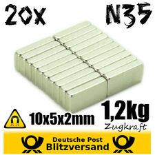 20x Neodym Magnet Quader 10x5x2mm - magnetisch neodymium starke Minimagnete