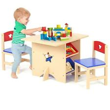 Children's Nursery Wooden Star Play Table and 2 Chairs Set with 4 Storage Boxes