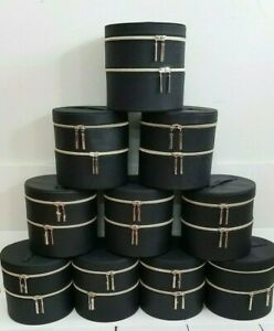 "10 X LANCOME BLACK  MAKEUP COSMETIC CASE W/MIRROR DOUBLE LAYERS 7.5 x 7.5"" INCH"