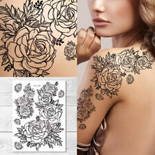 Supperb Temporary Tattoos - Large Hand Drawn Black & White Roses