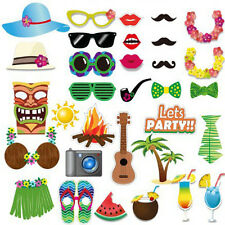 32Pcs Hawaiian Luau Tiki Photo Booth Selfie Props Tropical Beach Party Birthday