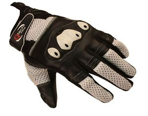 MOTORCYCLE Motorbike GLOVES Sports Short Cuff Protected Knuckle BLACK & White