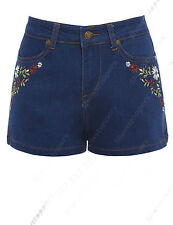 NEW HIGH WAIST FLORAL SHORTS Ladies DENIM FLOWER WAISTED JEAN Size 8 10 12 14