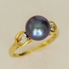PEARL RING 9.4mm BLACK FRESHWATER PEARL GENUINE DIAMONDS 14K GOLD SIZE O1/2 NEW