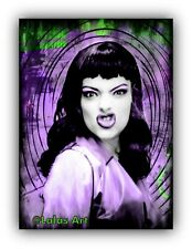 Funky  retro style painting of Nina Hagen, Queen of Punk Music, Berlin, Germany