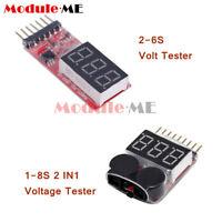 2-6S 1-8S Indicator Lipo Li-ion Battery Voltage Tester Voltage Buzzer Monitor