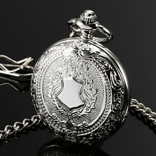 ESS Mechanical Men's Watch Pocket Silver Skeleton Pendant White Dial See Through