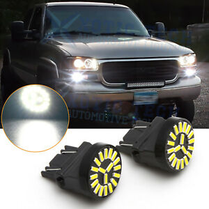 For GMC Sierra 1500 2500 3500 HD White 3157 LED Daytime Running Light DRL Bulbs