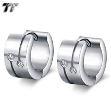 TT Silver Plain Brushed Stainless Steel Thick Hoop Earrings CZ (EH93) NEW