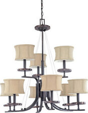 Ledgestone 9 Light Chandelier With Carmel Fabric Shades