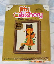 Vintage Jiffy Stitchery Kit Stamped Sunset Crewel Embroidery Talkin' Girl Dog