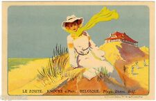 POSTCARD BELGIAN TOURISM LE ZOUTE KNOKKE GOLF ON BEACH 1911
