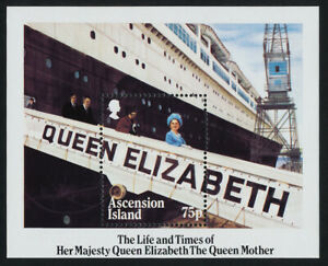 Ascension Island 376 MNH Queen Mother 85th Birthday, Ship QEII