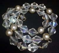 Vintage Aurora Borealis Crystal Faceted Glass Bead Necklace Faux Pearls 119