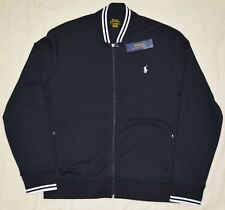 New Large L POLO RALPH LAUREN Men baseball varsity cotton bomber jacket black RL