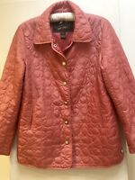 Coach 1941 Designer Women's Quilted Jacket In Coral Pink (Size M/UK12/14)