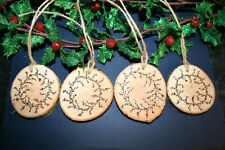 4 x Handmade Wooden Tree Slice Christmas Decorations or Gift Tags 6.5cm -Wreaths