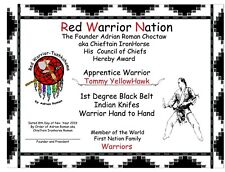 Red Warrior Nation 1st Degree in Knife & Hand to Hand Techniques Diploma & DVD