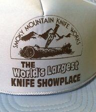 Vintage Trucker Hat - Smokey Mountain Knife Works Show Exhibit Snapback NC Blue