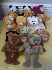 13 ORIGINAL BEANIE BABY BEARS 1990'S FORTUNE MILLENIUM FRIZZ HALO HOPE BLACKIE+