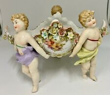 Antique Sitzendorf Porcelain Cherub Basket circa 1890