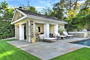 ** Pool House / Cabana / Accessory Dwelling Unit - Floor Plans, Blueprints **