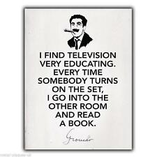 """Wall Plaque Metal Sign Groucho Marx """"I Find Television."""" Quote art print poster"""