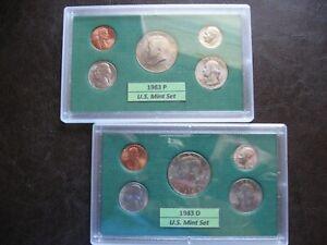 1982 /& 1983 P/&D Uncirculated Souvenir 6 Piece Uncirculated Sets LOT OF FOUR SETS