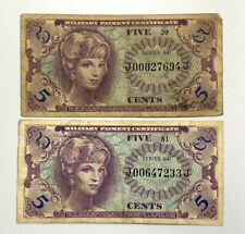 5 Cents Military Payment Certificate (MPC) Series 641 5¢ Circulated Note PAIR