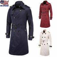 Men's Winter Warm Trench Coat Long Jacket Buttons Long Sleeve Overcoat Outwear