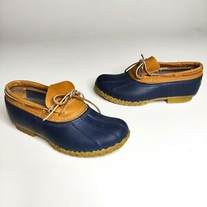 LL BEAN Bean Boots Rain Snow Rubber Mocs Low Navy Brown Shoes - Women's Size 10