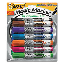 BIC Low Odor and Bold Writing Dry Erase Marker Chisel Tip Assorted Dozen