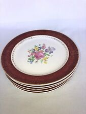"6 - Cronin China Co Minerva Ohio Royal Rajah Maroon Dinner Plate 10"" Gold Accent"