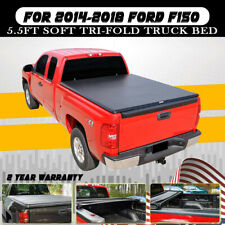 Leather Tri Fold 6.5' Black Tonneau Cover Fit 07-17 18  Sierra/Silverado Truck