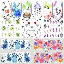 18 * Water Transfer Watermark Flower Sliders Pluma sueño Catcher Nail Sticker
