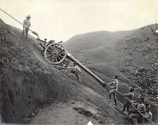 c1900 | heavy BATTERY GUN being pulled up hill | rare and dramatic photograph