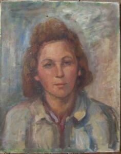 Ed Hair Lady Woman Portrait With Blouse° Art Deco Unsigned Antique