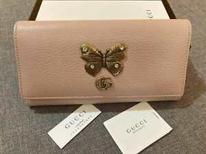 GUCCI Women Leather Wallet Gold Butterfly & GG Logo Purse Made in Italy Auth.