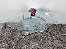 Tavolino da salotto con ripiano in vetro Tavolo vetro ovale in acciaio innox