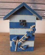 RUSTIC STORAGE WOOD BOX WITH FASTENING ROOF LID ANCHOR NAUTICAL BLUE STRIPPED