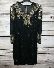 Scala Black Vintage Beaded Sequin Silk Long Sleeve Cocktail Dress Size Medium