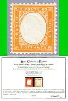 ITALY REGNO 1862 EFFIGE DI VITTORIO EMANUELE in rilievo 80c n.4a MNH** CERTIF