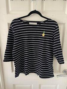 Sugarhill Boutique Black stripe breton jumper with pineapple size 14