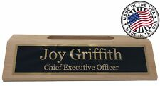 Personalized Business Desk Name Plate with Card Holder - Made in USA - Maple